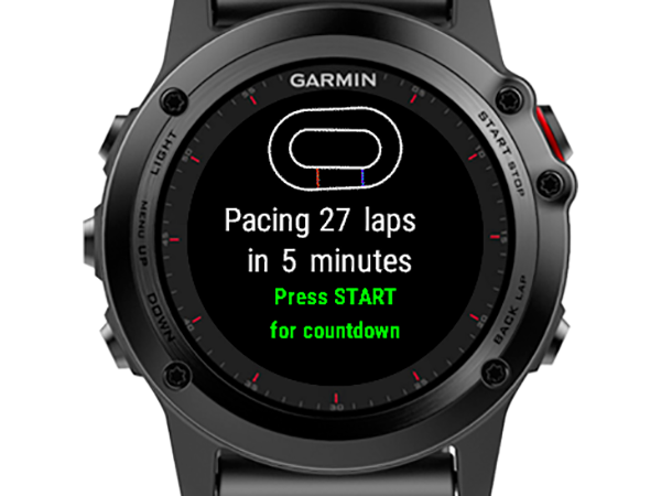 A watch showing an icon of a derby track and the text 'Pacng 27 laps in 5 minutes. Press Start for countdown.'